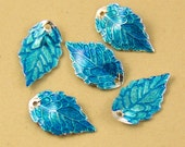 6pcs Blue Enamel Leaf Charm