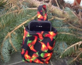Hot Pepper Print Fleece lined IPod Pocket or Sunglass Holder for in your Car at your desk measures 5 inches Tall