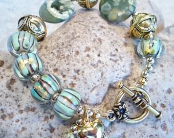 Green Lampwork Bracelet Stone Bracelet