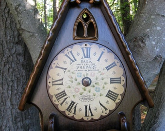 Upcycled Recycled Clock Bird Feeder Prepare to Meet Thy God Today