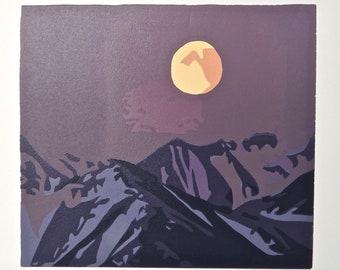 Ascent: Original mountain range linocut print with signature