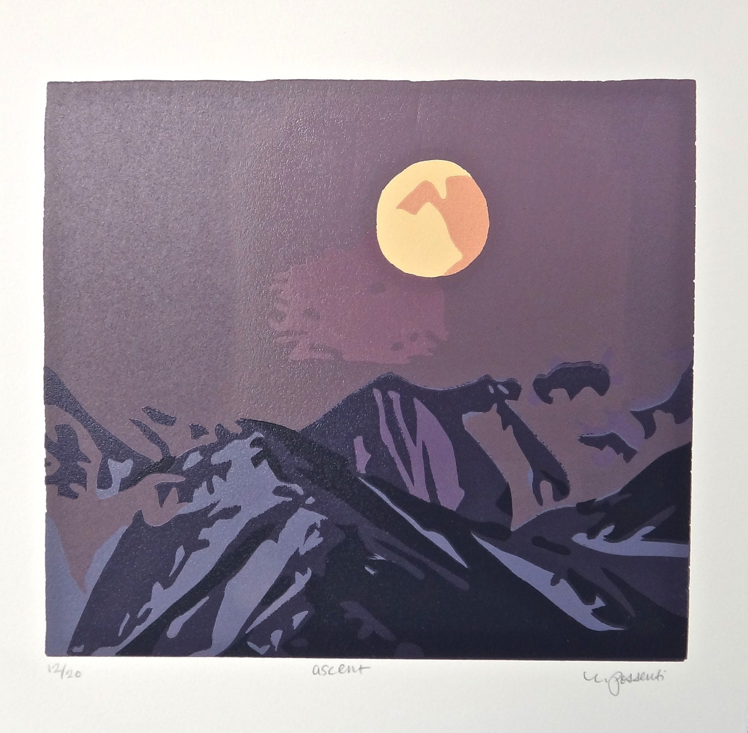 This Sophisticated Ascent Is Defined By Its Original: Ascent: Original Mountain Range Linocut Print With Signature