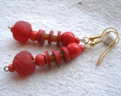 African red recycled glass and recycled vinyl earrings by Fianaturals