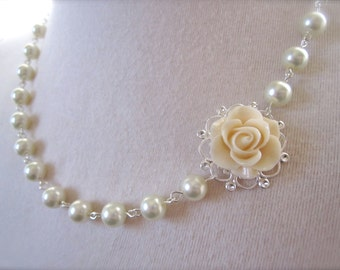 Ivory Flower Necklace - Bridesmaid Jewelry Gift - ivory Pearls Necklace Asymmetrical Floral Jewelry  victorian Vintage style wedding Jewelry