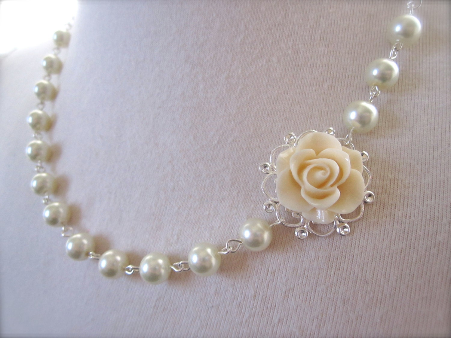 Ivory Flower Necklace Bridesmaid Jewelry Gift Ivory Pearls