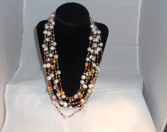 Vintage 6 Strand Sterling Silver Pearl Necklace