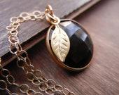 Onyx Bezel Set Necklace, 14K Gold Filled Chain, Black Onyx Charm Necklace, Black Spinel Pendant, Onyx Pendant