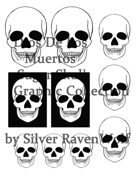 Magickal Sugar Skull Images Dios De Los Muertos Instant Digital Download