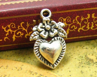 20 pcs Silver Heart Charms 14x10mm CH1068