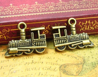 10 pcs Antique Bronze Locomotive Charms Double Sided 22x14mm CH1084