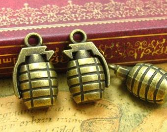 5 pcs Antique Bronze Grenade Charms 22x13mm CH1127