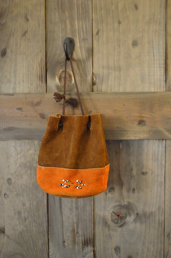brown suede native american boho beaded pouch purse / small