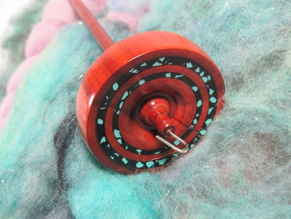 Beautiful Red Heart Drop Spindle, Black & Turquoise Inlace