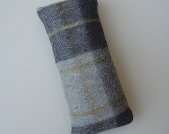 Catnip Cat Toy Kick Stick in Grey Plaid Wool
