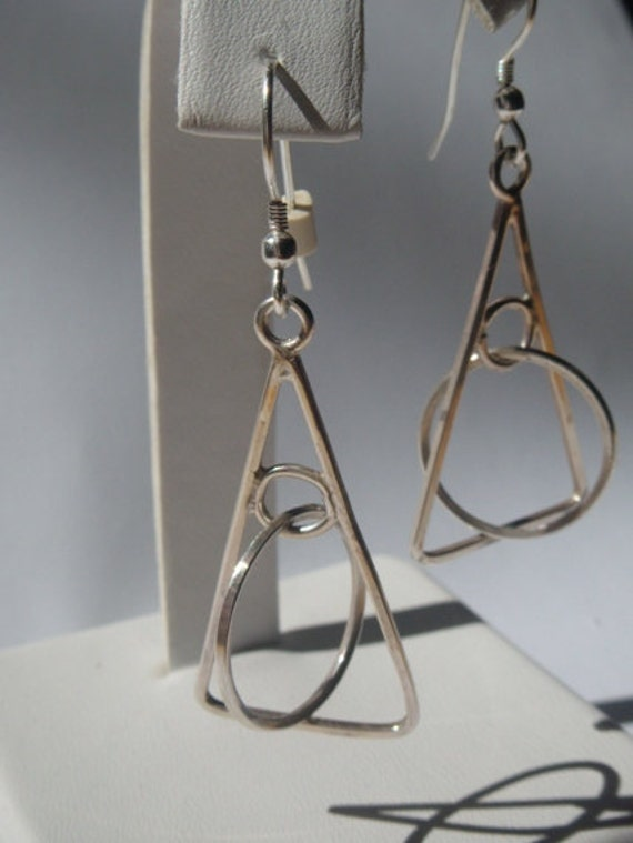 Sterling Silver Earrings with Triangles and Circles