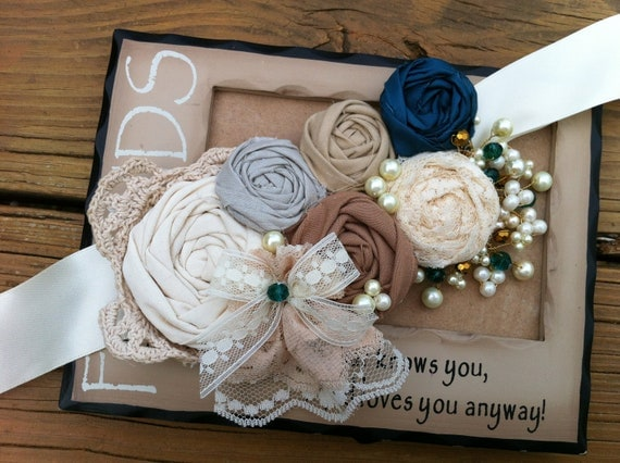 SALE Lorena- Rosette Wedding Sash -  Ivory, Cream, Beige, Mocha and Jade... with a crocheted Doily and gold bead and pearls cluster..