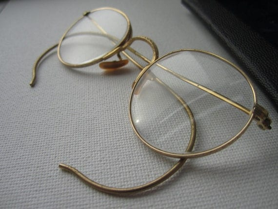 Gold Rimmed Spectacles Eye Glasses FREE SHIPPING