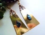 Peacock Ore Golden Brass Earrings - Boho Chic - Goddess - Elegant Statement Earrings - Egyptian Inspired