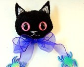 Halloween Black Cat Felt Brooch/Ornament with Pink Eyes and Purple Ribbon w/ Spiders