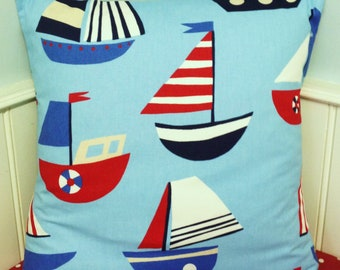 Kids Nautical Pillow Cover, Nautical Cushion Cover, 24 InchPillow Sham, Decorative Pillow Cover Sky Blue Sailing Boats with Stripes.