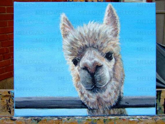Alpaca Peers Down Original Acrylic Painting 11 x 14