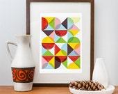 Geometric print, Abstract art, Mid Century modern, Scanidnavian, modern, Colorful, art for nursery  A3