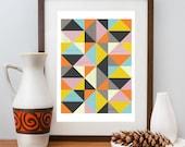 Abstract print, Geometric art, Mid Century modern, Modern art, Scanidnavian design, wall decor,  A3