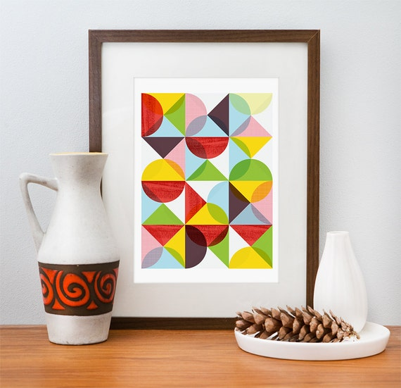 Geometric print, Abstract art, Mid Century modern, Scanidnavian, modern, Colorful, art for nursery  A3
