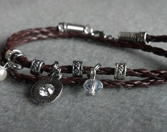 Braided Leather Double Wrap Bracelet