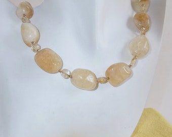 Yellow Citrine Chunks with Gold Necklace