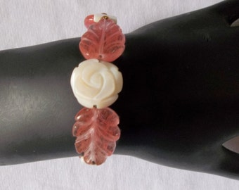White Mother of Pearl Rose with Cherry Quartz Leaves Bracelet