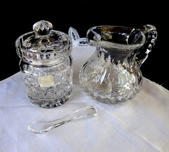 Fifth Avenue Crystal Sugar Jar with Spoon and Creamer Made in Poland.