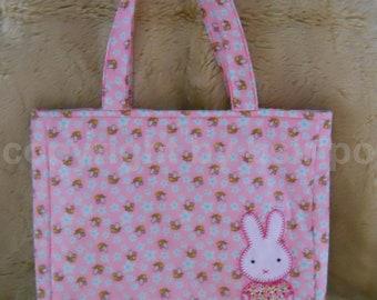 Pink Rabbit Quilt Bag /Quilt Bunny bag/Handmade bag/Quilt handbag/Cotton bag/Ipad bag/Macbook bag/Tote bag/Tablet bag/Shopping bag/Women bag