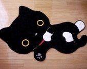 Black Cat with Socks Cotton Room Mat or Pet Matress