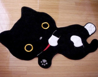 Black Cat with Socks Cotton Room Mat or Pet Matress