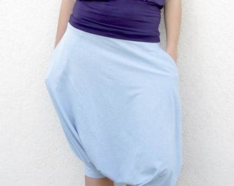 Soft light blue short gipsy harem bohemian parachute pants with pockets in pure cotton, many colors