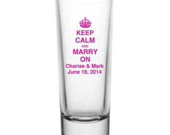 144 Personalized Wedding Favor 2oz Tall Glass Shot Glasses Custom Wedding Favors Keep Calm Marry On