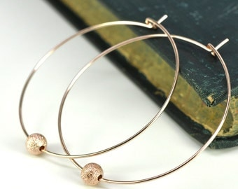 Rose Gold Hoop Earrings with Sparkly Stardust Beads, Free US Shipping, Kristin Noel Designs