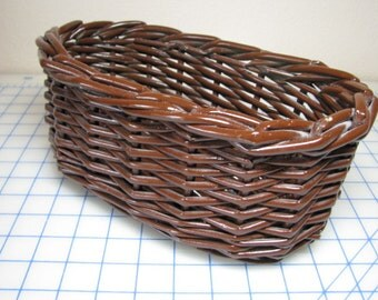 Vintage Painted Brown Painted Basket
