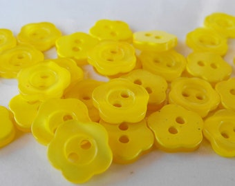 30 Yellow Jasmine Flower Buttons Size 1/2""