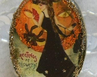 Pretty Halloween Witch Decoupage Clay Brooch