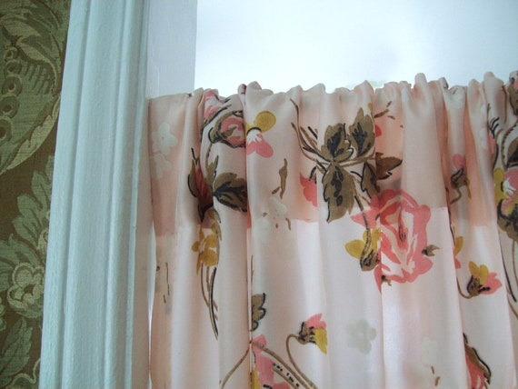 Vintage Pink Curtains Pink Rose Drapes Shabby Chic Curtain