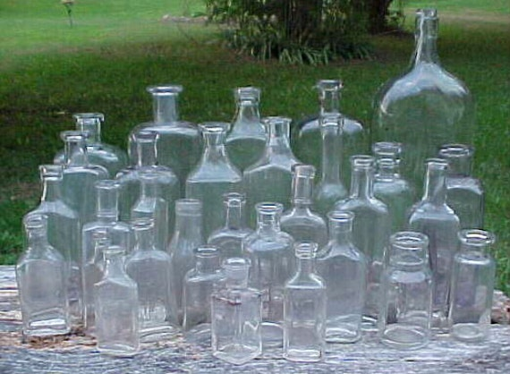 c1890-1920 Group of 31 Cork Top Mixed Clear Glass Medicine and other Bottles Great for WEDDING Display No. 1