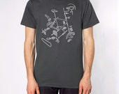Exploded Bicycle T-shirt - MENS LARGE ASPHALT