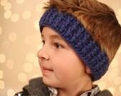 Crochet Ear Warmer-Head Wrap-Childrens Headband-Drk Blue