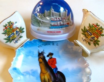 Take 20% Off Vintage VICTORIA BC Plate, Royal Winton Cream Sugar PLUS Snow Globe