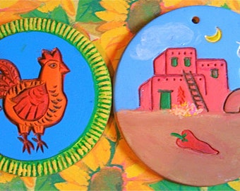 Take 20% off Sale SW Style Hand Painted Clay Hanging HOT PLATES
