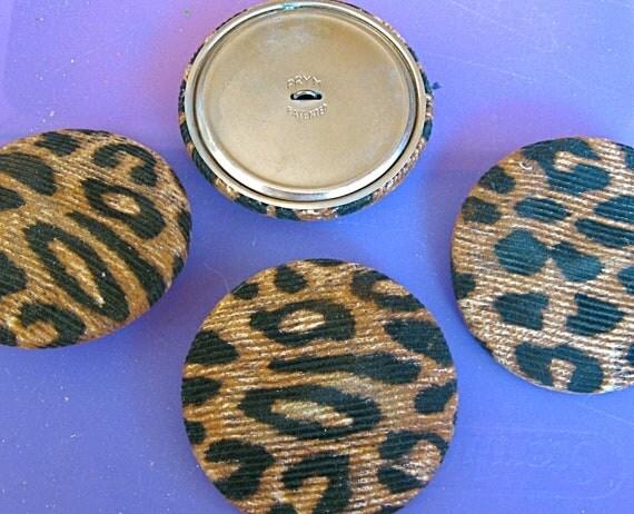 Take 20% off Four HUGE Vintage PRYM Faux Leopard Buttons