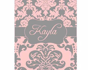 SALE 30% OFF! iPad 2, 3, or 4 Hard Snap on case cover Personalized Custom Damask Pink Gray