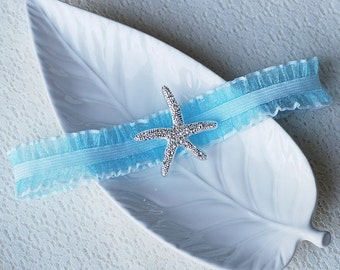 Wedding Garter Bridal Garter TURQUOISE BLUE Garter Set Lace Garter Rhinestone Crystal Starfish Garter Beach Wedding GR022LX